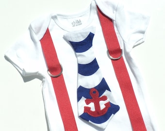 Custom Boutique Nautical Boys Tie Shirt With Suspenders Sizes 0-6mo, 6-12mo, 12-18mo, 18-24mo, 2t, 3t, 4t, 5/6, 7/8