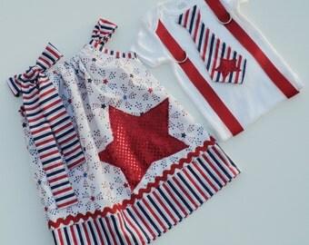Custom Boutique Patriotic Star Brother/ Sister set