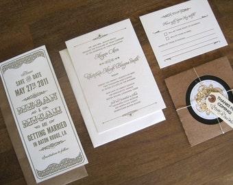 Vintage Circus wedding invitation suite