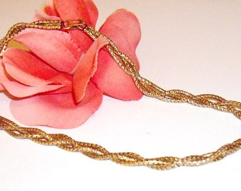 Gold Filled Necklace 1/20 12K, gold choker chain, vintage gold double chain necklace, gold jewelry, Christmas gift for her