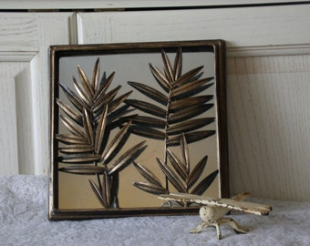 Bronze Looking Mirror With Pretty Leaves. CLEARANCE Price marked to clear out