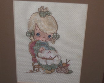 Precious Moments Little Girl doing needle work Picture / Hand Embroidered Wall Hanging