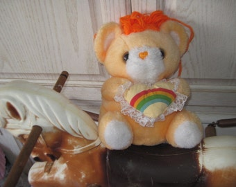 COMMONWEALTH  Teddy Bear Orange with Rainbow Pillow Toys and Novelty Company :)