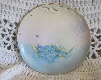 Beautiful Decorative  Plate with Blue Flowers on it Foget Me Not Flowers/ Bud on the stem of flower /  SALE Marked Down to Clear  Out