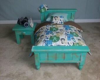 Distressed Newborn Bed, Nightstand, Mattress, & Comforter set  Photography Prop