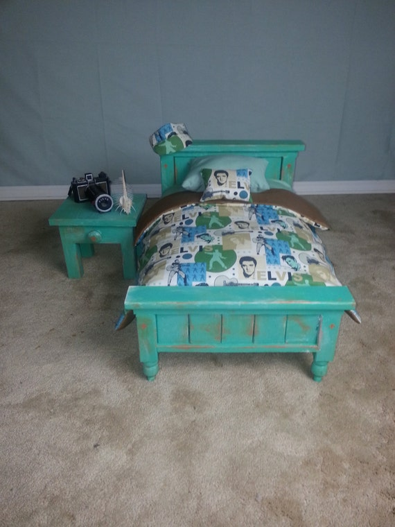 Distressed Newborn Bed, Nightstand, Mattress, & Comforter set  Photography Prop