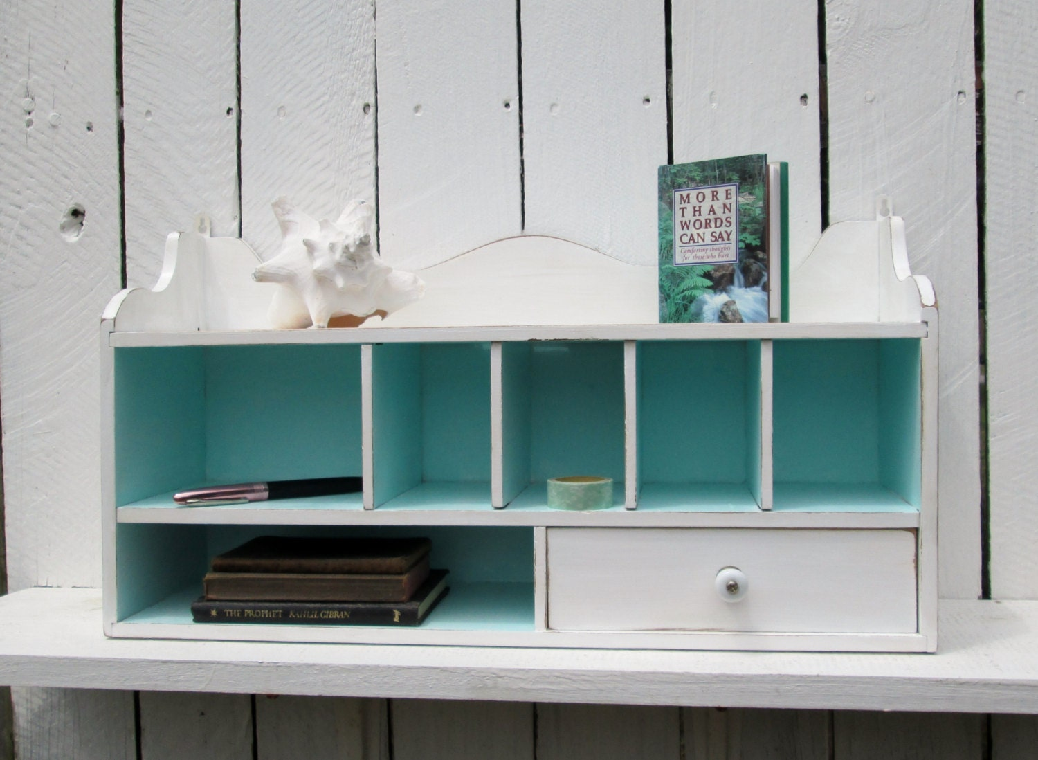 Desk organizer wall shelf shabby cottage chic cubbyholes - Over the desk organizer ...