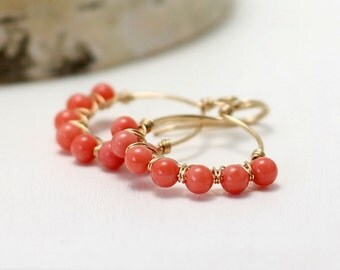 Coral Earrings, 14k Gold Filled Pink Peach Coral Hoop Earrings Yellow Gold Jewelry Wire Wrapped Dangle Earrings