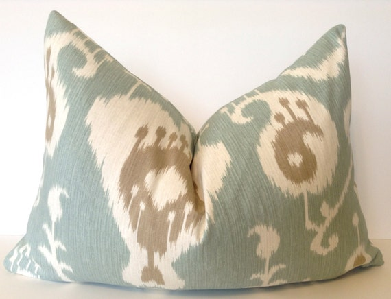 16x24 inch pillow in 'Java Ikat'-blue and brown