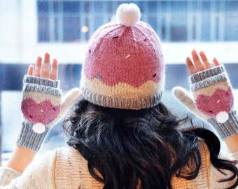 Sweeter Than a Cupcake KNITTING PATTERN INSTRUCTIONS Hat and Mitten Set in Girls and Adult Sizes