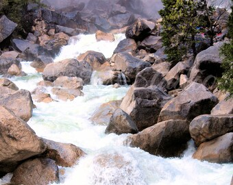 RUSHING RIVER 8x10 photo Yosemite Stream Whitewater Rocks