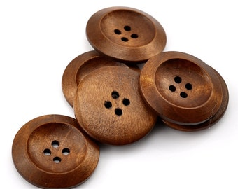10 Brown Coffee Wooden Buttons - 30mm (1 1/4 inch)  - 4 Hole - Wood Button (B21383)
