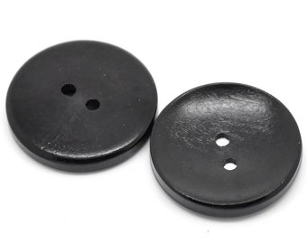 "5 Black Wooden Buttons - 30mm (Approx. 1 1/8"" inch)  - 2 Hole - Wood Button  (B19489)"