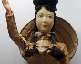 Vintage Saigon Doll with Traditional Dress, Straw Hat and Blue Bow Shoes