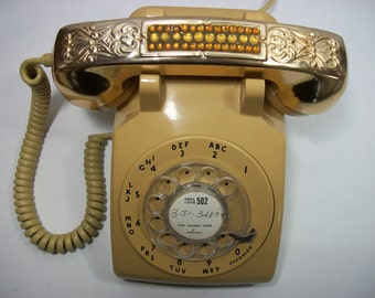 1960's Rotary Dial ITT Mustard Yellow with Gorham Style Gold Plated Rhinestone Hand Set Case Corded Phone