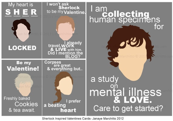 Items Similar To Set Of 5 Sherlock Inspired Valentines Day Cards On Etsy