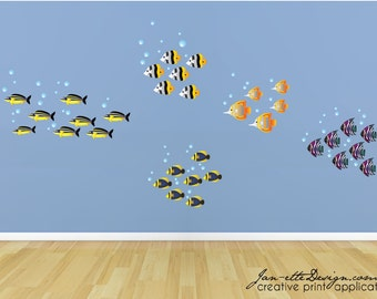 Kids Fish Wall Decals, Schools of Fish Removable and Reusable Wall Decals