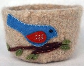 natural wool felted bowl with blue bird on branch