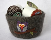 owl on branch charcoal grey wool felted fall autumn centerpeice bowl