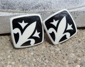 Black and White Fleur De Lis Clip On Earrings