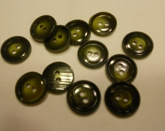 12 dark olive green buttons, 15 mm (28)