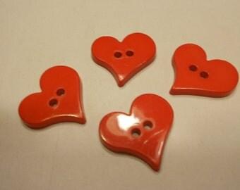 4 heart buttons, 23 x 24 mm, (36)