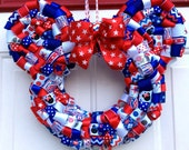 "Patriotic Minnie Mouse Ribbon Wreath 14"""