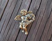 Vintage Angel Brooch, Antiqued Brass, Rhinestones, Cherub Angel, Nice Condition