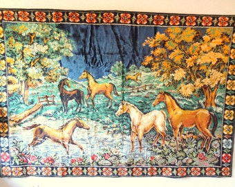 Vintage 1970s Bohemian Tapestry/Wall Hanging/Rug-Horses Frolicing In Meadow
