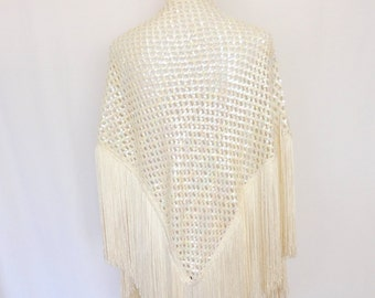 Vintage Sequined Fringed Gypsy Shawl- Off White And Iridescent