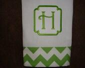 Chevron Green Hand Towel with Border Font
