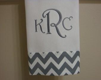 NEW  Ann Kelle Grey Chevron Hand Towel Monogrammed
