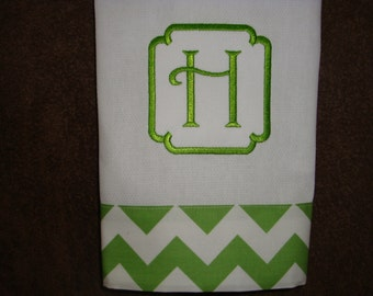 Chevron Green Hand Towel with Border Font