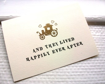 Wedding Card - Card for Bride and Groom - Happily Ever After - Golden Carriage Engagement Card
