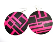Tech Chic Earrings in Neon Pink and Black