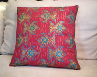 Cotton Imported African Gold Print Fabric - Pillow Cover