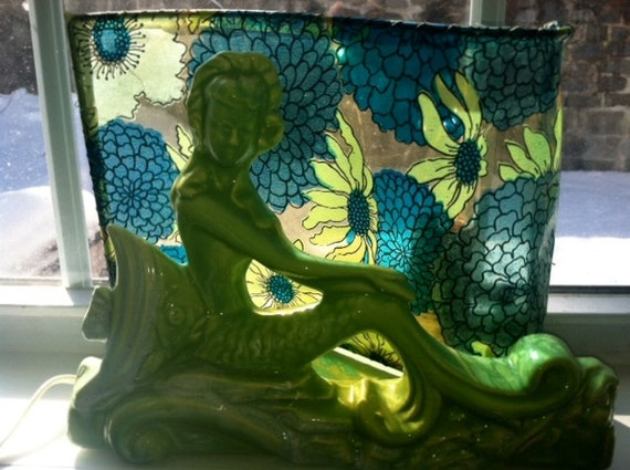 Vintage Retro Kitsch Lime Green Mermaid tv lamp from the 1950's