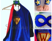 Ultimate Personalized Superhero Set: Includes Monogrammed Cape, Cuffs, and Reversible Mask.