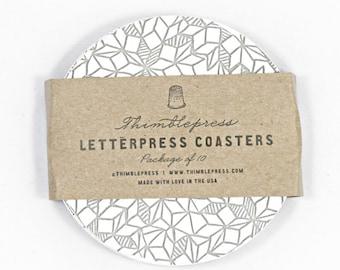 Grey Line Letterpress Coasters - Set of 10