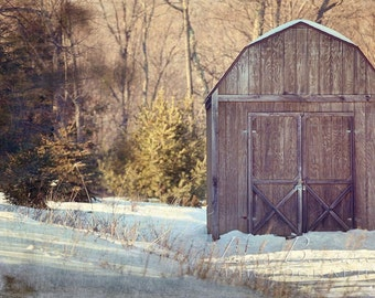 Nature Photography Wood Shed - Winter Fine Art Gallery Wrapped Canvas 16x24 - Snow Wood Shed Art