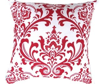 """Red Pillow Cover- Red Damask & White Damask Table Runner-Accent Pillow Cover .16"""",17"""",18"""",20"""" 24"""" 26"""", Lumbar Pillow or Euro Sham"""