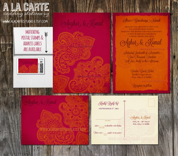 Indian Style Wedding Invitation And RSVP Card