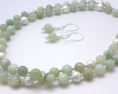 Long Mint Green Gemstone Bead Necklace and Earrings Set, Long Necklace with Earrings
