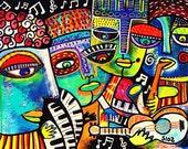 Wine Bar Cool Jazz** - SILBERZWEIG ORIGINAL Art PRINT- Piano, Saxaphone, Singer, Musical, Nightclub, Guitar, Keyboard, Blue, Notes, Absinthe