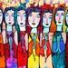 Seven Blue Spanish Angels** - SILBERZWEIG ORIGINAL Art PRINT - Mexican, Virgin Of Guadalupe, Saint, Pray, Stars, Cross, Heaven, Halo, Folk