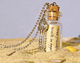 Message in a Bottle Necklace, Glass Bottle Necklace, Friendship Necklace, Personalized Friendship Gift, Quote Necklace, Anniversary Gift