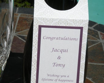 Custom Wedding Wine Bottle Tag in White and Purple