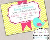 Little Birdie Says Baby Shower Invitation (160) - DIY Printable - Domestically Swanky Designs