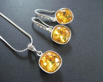 Bridesmaid Jewelry/Sun Flower Yellow Swarovski Crystal Bridesmaid Jewelry Set/ Rhinestone Earrings/ Wedding Jewelry