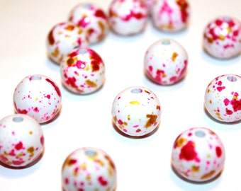 20pc Loose Bead Pink White/ Basketball wives earrings /Acrylic Beads/14mm